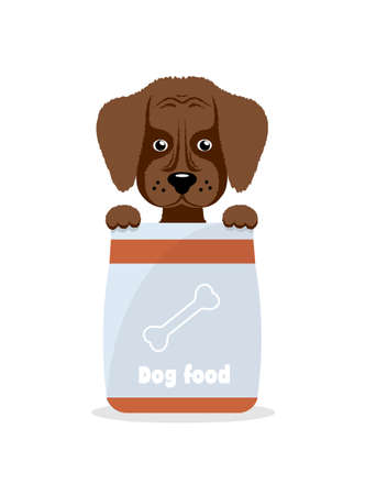 little dog: little dog holds a feed pack