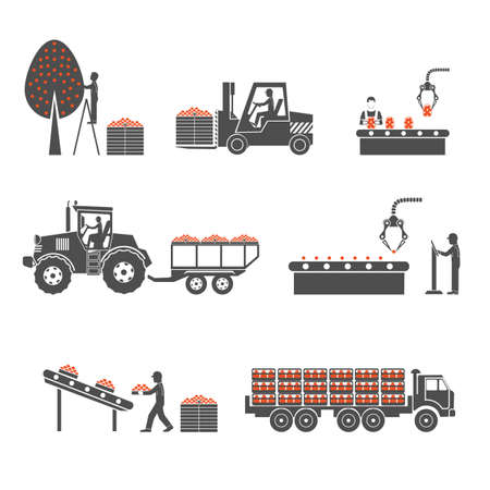 conveyor system: icons processing of agricultural production Illustration
