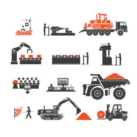 manufacturing: icons of technological processes of production Illustration