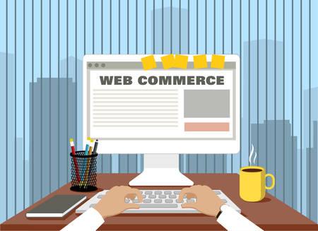 commerce: online commerce. concept trade Internet