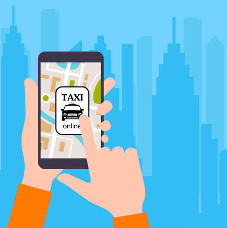 commute: The smartphone with the application of services of a city taxi on ekrane.vector an illustration of smart concept of services taxi online. Illustration