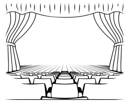 blanco y negro dibujo escena teatral