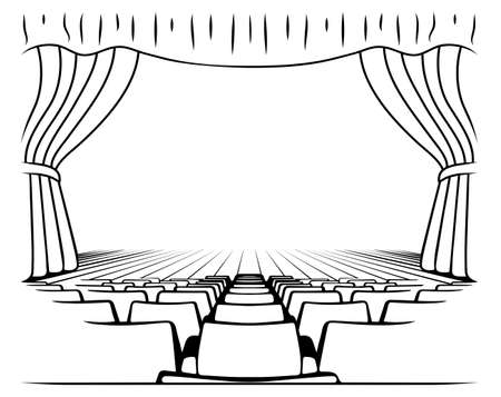 black and white drawing theatrical scene