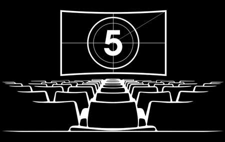 Cinema auditorium with screen and seats, illustration.