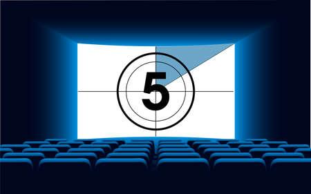 auditorium: Cinema auditorium with screen and seats, illustration. Illustration