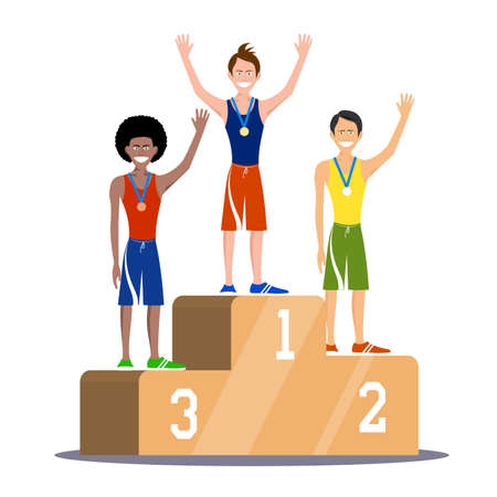 Champions on the sport tribune, an illustration. Illustration