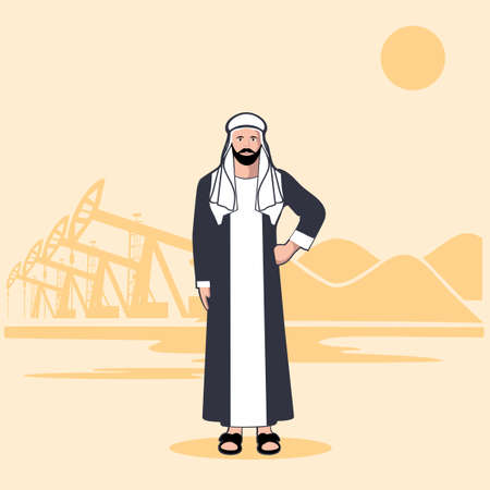 sheik: Arab sheikh against the background of oil production Illustration