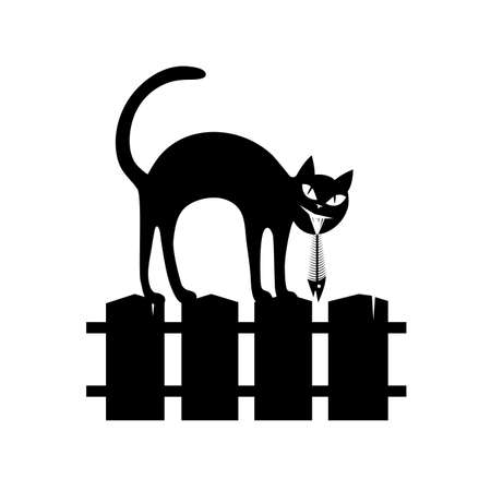 black silhouette: black silhouette of the sitting cat on a fence.