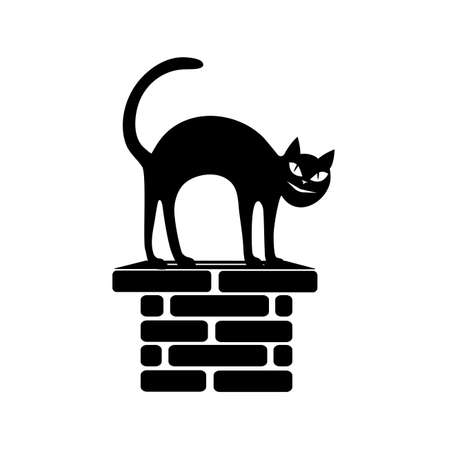 flue: black silhouette of the sitting cat on a flue.