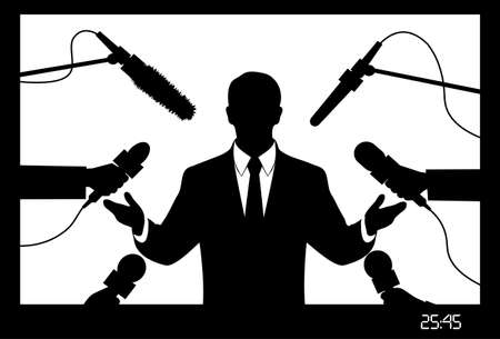 politician: on the image the politician giving to interview is presented