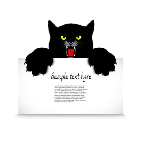 hissing: angry cat holds a banner
