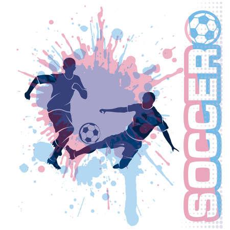 football tackle: Football match, kick a ball, composition grunge style Illustration