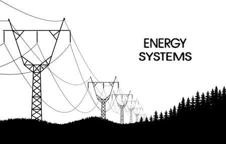 vigorous: lines of electro transfers monochrome landscape Illustration