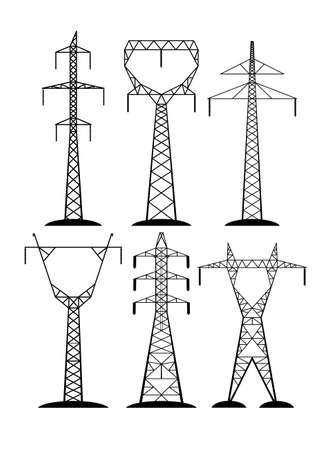 high-voltage lines isolated on white background Vectores
