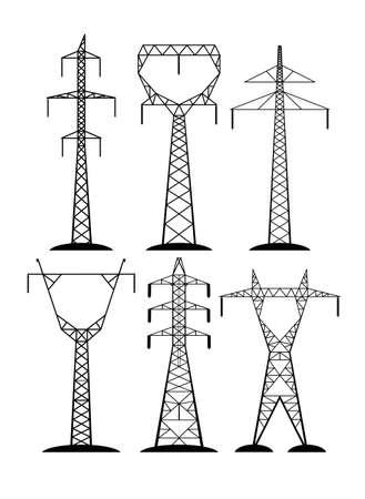 Linie wysokiego napięcia na białym tle Ilustracje wektorowe