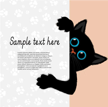 playful: playful kitten represents a banner a vector illustration Illustration
