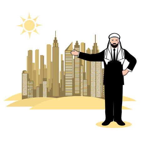 megalopolis: Arab sheikh represents the megalopolis in the desert. Vector Illustration.