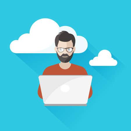 usando computadora: hombre que trabaja en el ordenador utilizando la computación en nube