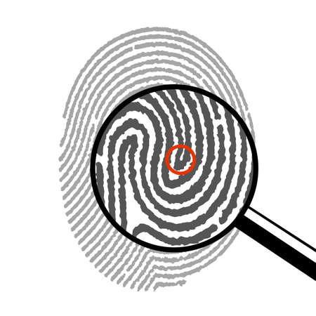 dactylogram: fingerprint under a magnifying glass Illustration
