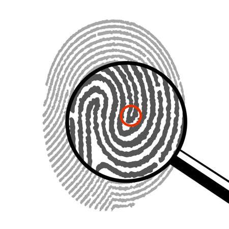 fingerprint under a magnifying glass Illustration