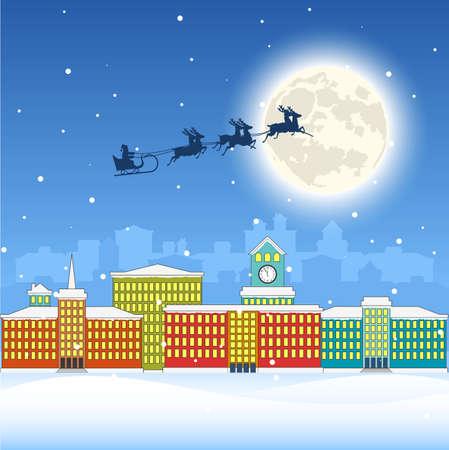 alfa: City landscape. Christmas illustration