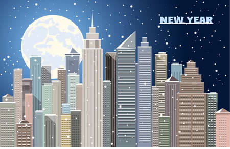 new years: City New Years landscape