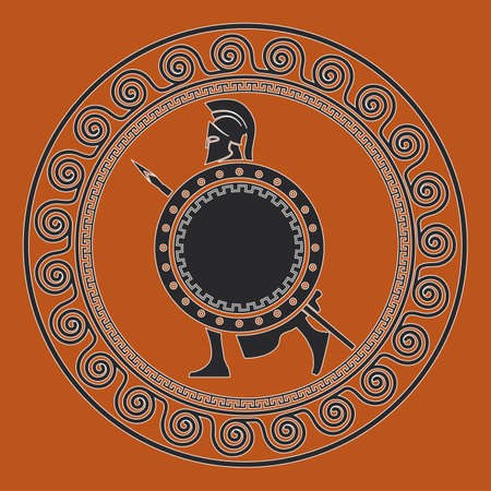 Symbol with the Greek soldier. Silhouette of the Spartan soldier Illustration