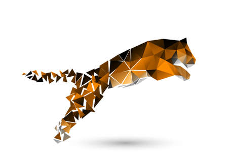 springende tijger van polygonen Stock Illustratie