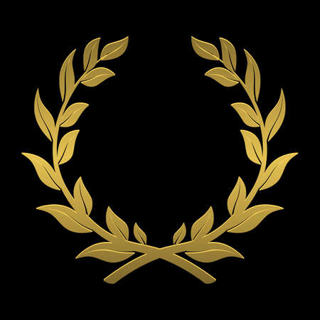 awarded: laurel wreath of gold on a black background