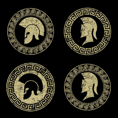 ancient civilization: old shabby symbol of Spartan warrior in grunge style