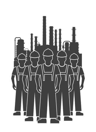globalwarming: icon team of workers of oil-processing industry
