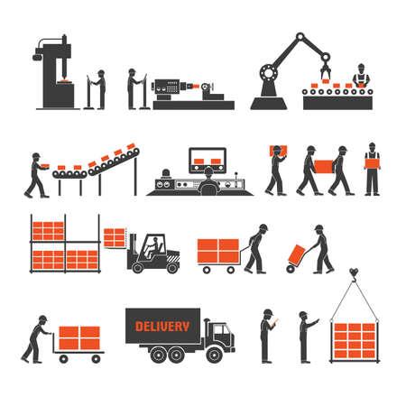 iconen productielijnen van de transporteur Vector Illustratie