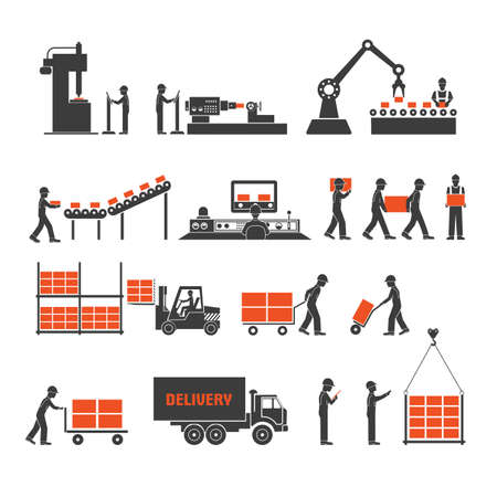 manufacturing: icons production lines of the conveyor