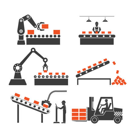 machine operator: icons production lines of the conveyor