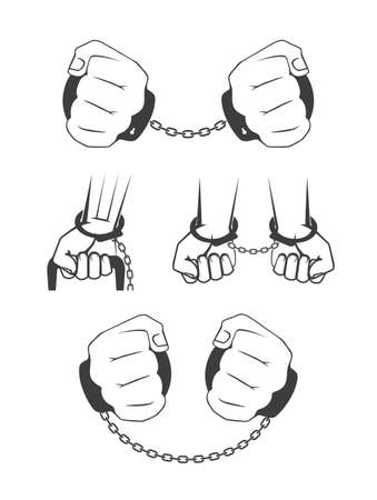 manacles: Human hands in handcuffs