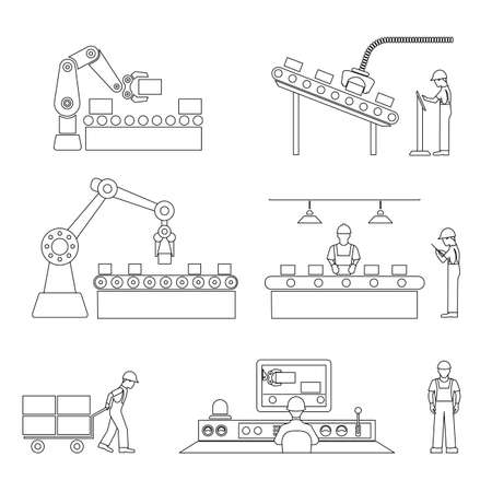 machine operator: icons of industrial subject Illustration