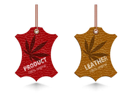 leather labels of different flowers Illustration