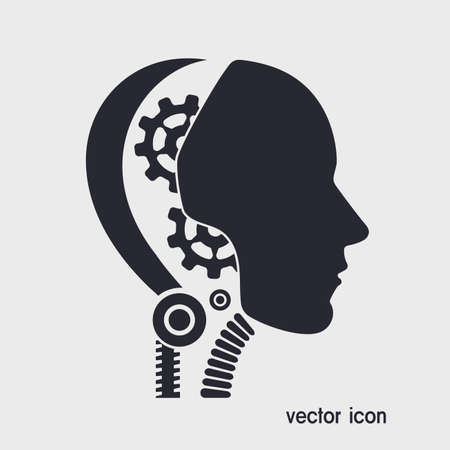 alfa: icon robot cybernetic organism Illustration