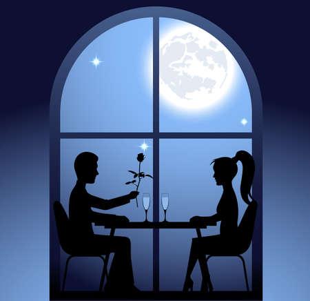 Guy und das Mädchen ein romantisches Treffen im Restaurant. Valentinstag