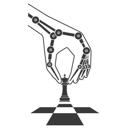 thinking machines: Robot plays chess. Icon artificial intelligence