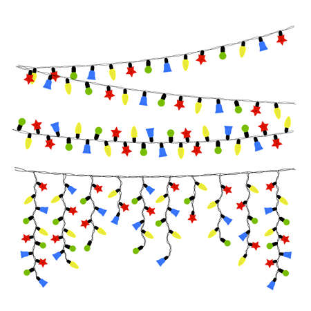 holiday garland: Garland for christmas and new year holiday, illuminated garland lamp new-year sceneries.