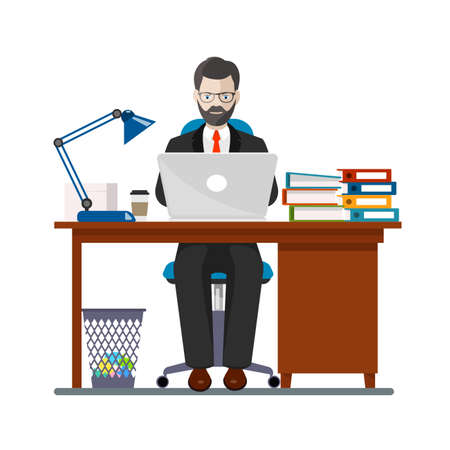 construction firm: office worker in a workplace an illustration