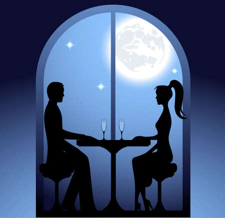 romantic couple: Guy and the girl a romantic meeting at restaurant. St. Valentines Day Illustration