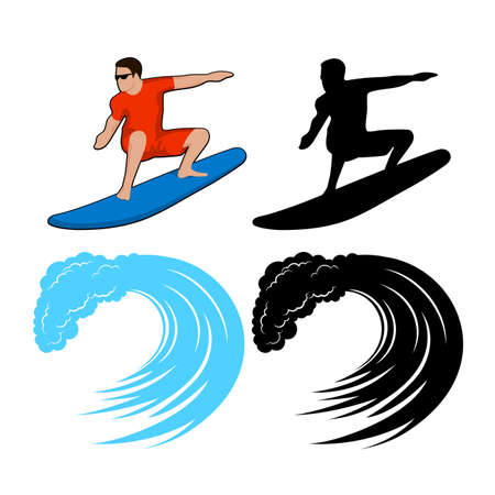 sports activity: surfer on a wave Illustration