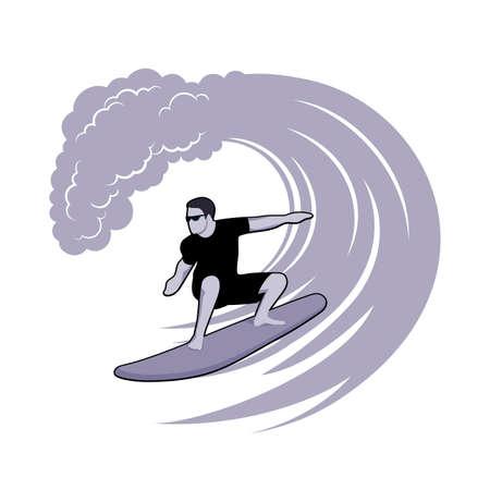 surfer on a wave Illustration