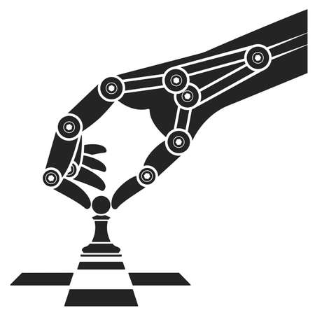 robot arm: Robot plays chess. Icon artificial intelligence