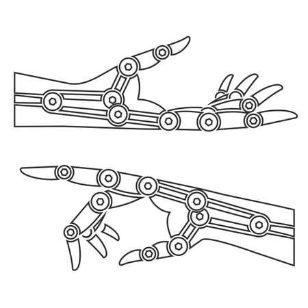 alfa: Cybernetic organism. Mechanical hand. Illustration