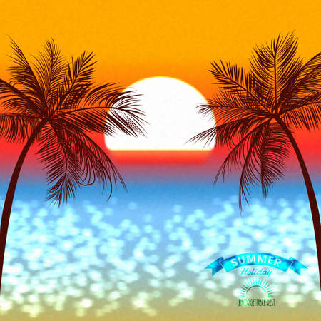 caribbean beach: Evening sunset of a sun above a tropical coast Illustration