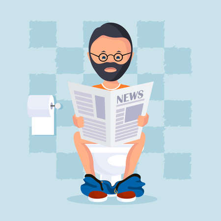 inodoro: Persona en la sala de baño sentado en una taza de inodoro lee un periódico de la mañana. ilustración vectorial de estilo plano.