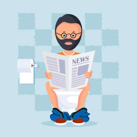Personne dans la salle des toilettes assis sur une cuvette de toilette lit un journal du matin. Vector illustration style plat.